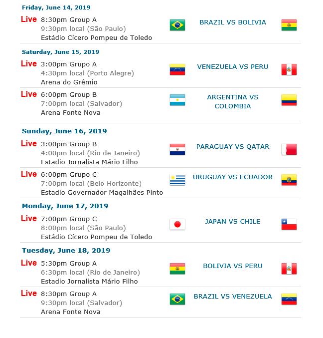 Calendario Copa.Calendario Copa America Hora Toronto La Portada Canada